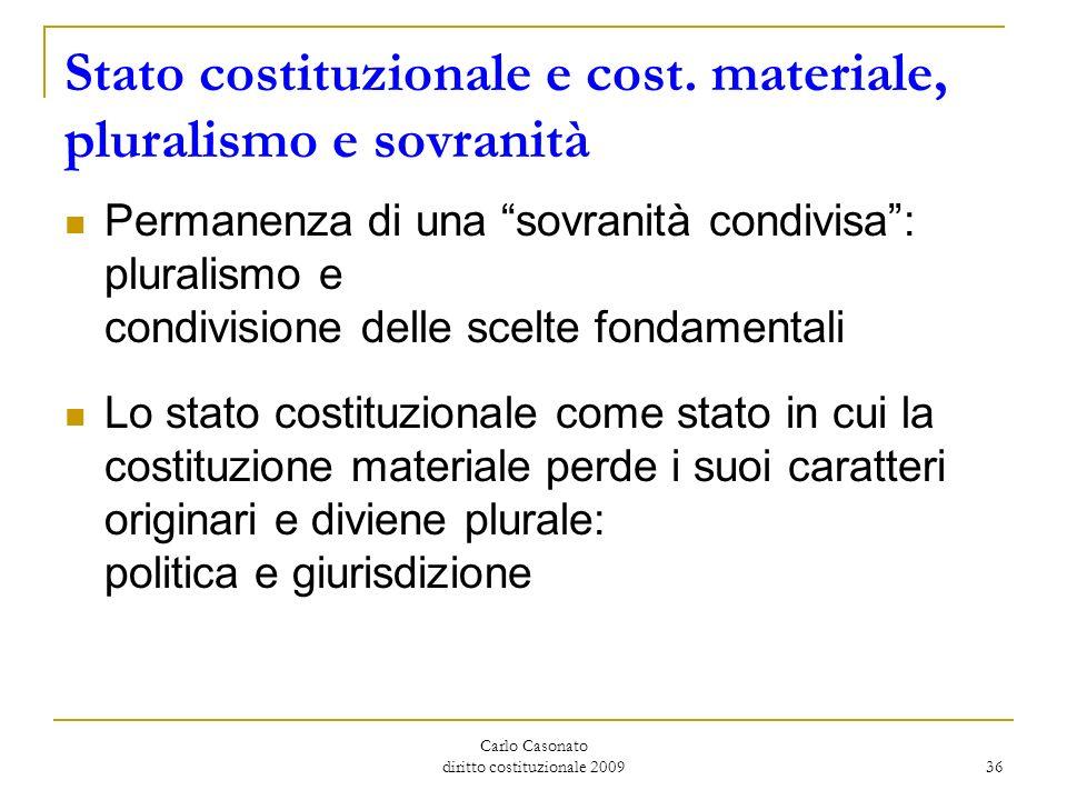 Carlo Casonato diritto costituzionale 2009 36 Stato costituzionale e cost. materiale, pluralismo e sovranità Permanenza di una sovranità condivisa: pl