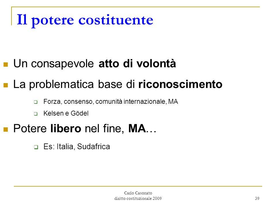 Carlo Casonato diritto costituzionale 2009 39 Il potere costituente Un consapevole atto di volontà La problematica base di riconoscimento Forza, conse