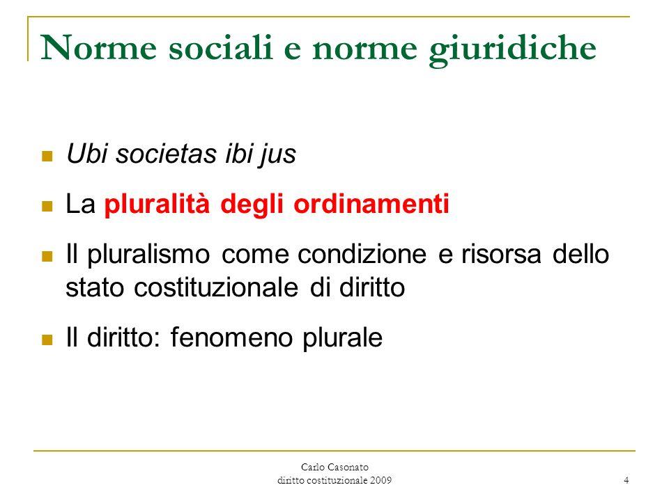 Carlo Casonato diritto costituzionale 2009 4 Norme sociali e norme giuridiche Ubi societas ibi jus La pluralità degli ordinamenti Il pluralismo come c