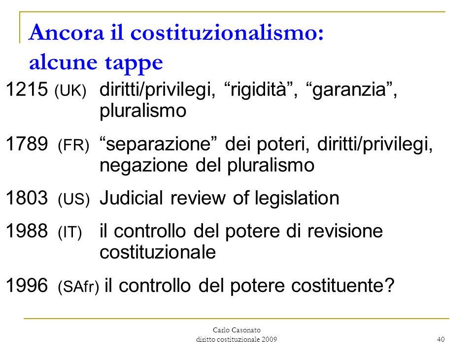 Carlo Casonato diritto costituzionale 2009 40 Ancora il costituzionalismo: alcune tappe 1215 (UK) diritti/privilegi, rigidità, garanzia, pluralismo 17