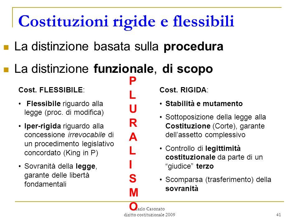 Carlo Casonato diritto costituzionale 2009 41 Costituzioni rigide e flessibili La distinzione basata sulla procedura La distinzione funzionale, di sco