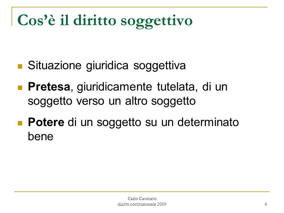 Carlo Casonato diritto costituzionale 2009 6 Cosè il diritto soggettivo Situazione giuridica soggettiva Pretesa, giuridicamente tutelata, di un sogget