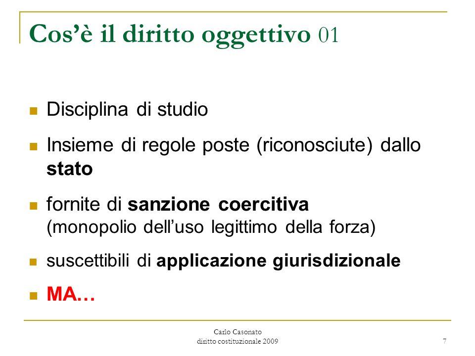 Carlo Casonato diritto costituzionale 2009 7 Cosè il diritto oggettivo 01 Disciplina di studio Insieme di regole poste (riconosciute) dallo stato forn