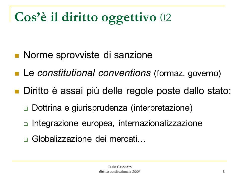 Carlo Casonato diritto costituzionale 2009 8 Cosè il diritto oggettivo 02 Norme sprovviste di sanzione Le constitutional conventions (formaz. governo)