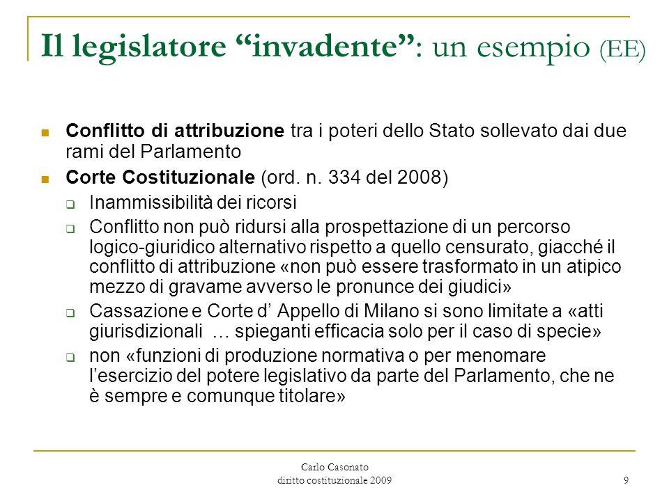 Carlo Casonato diritto costituzionale 2009 9 Il legislatore invadente: un esempio (EE) Conflitto di attribuzione tra i poteri dello Stato sollevato da