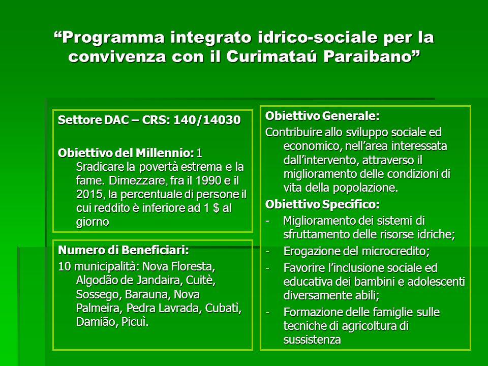 Obiettivo Generale: Contribuire allo sviluppo sociale ed economico, nellarea interessata dallintervento, attraverso il miglioramento delle condizioni di vita della popolazione.