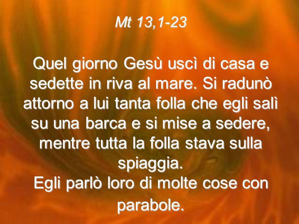 Mt 13,1-23 Quel giorno Gesù uscì di casa e sedette in riva al mare.