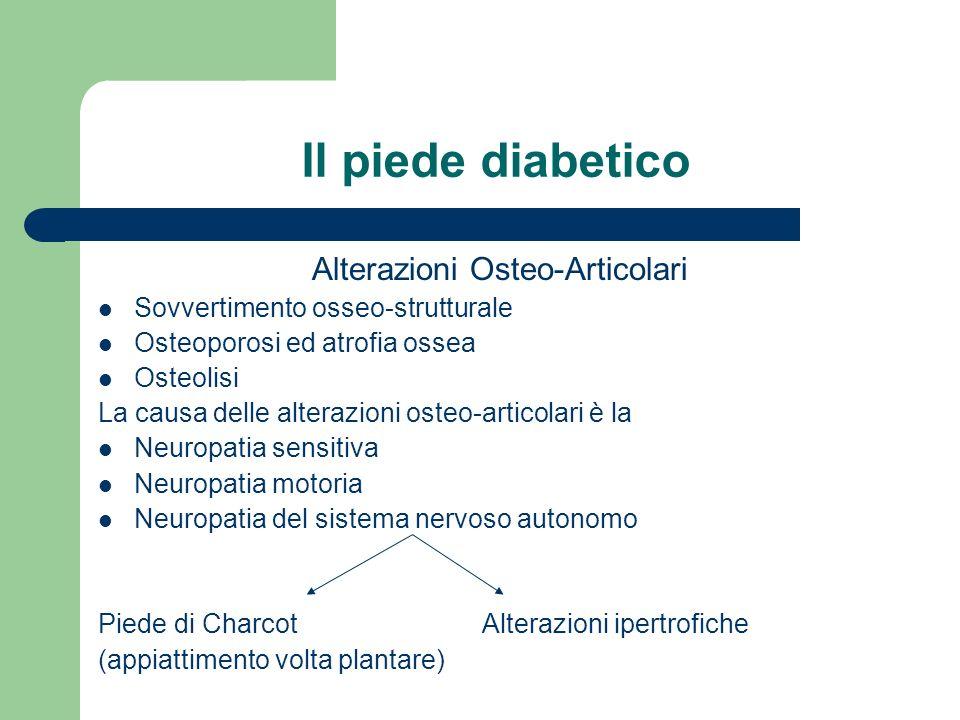 Il piede diabetico Alterazioni Osteo-Articolari Sovvertimento osseo-strutturale Osteoporosi ed atrofia ossea Osteolisi La causa delle alterazioni oste
