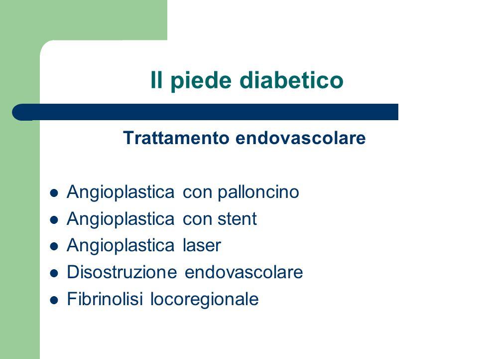 Il piede diabetico Trattamento endovascolare Angioplastica con palloncino Angioplastica con stent Angioplastica laser Disostruzione endovascolare Fibr