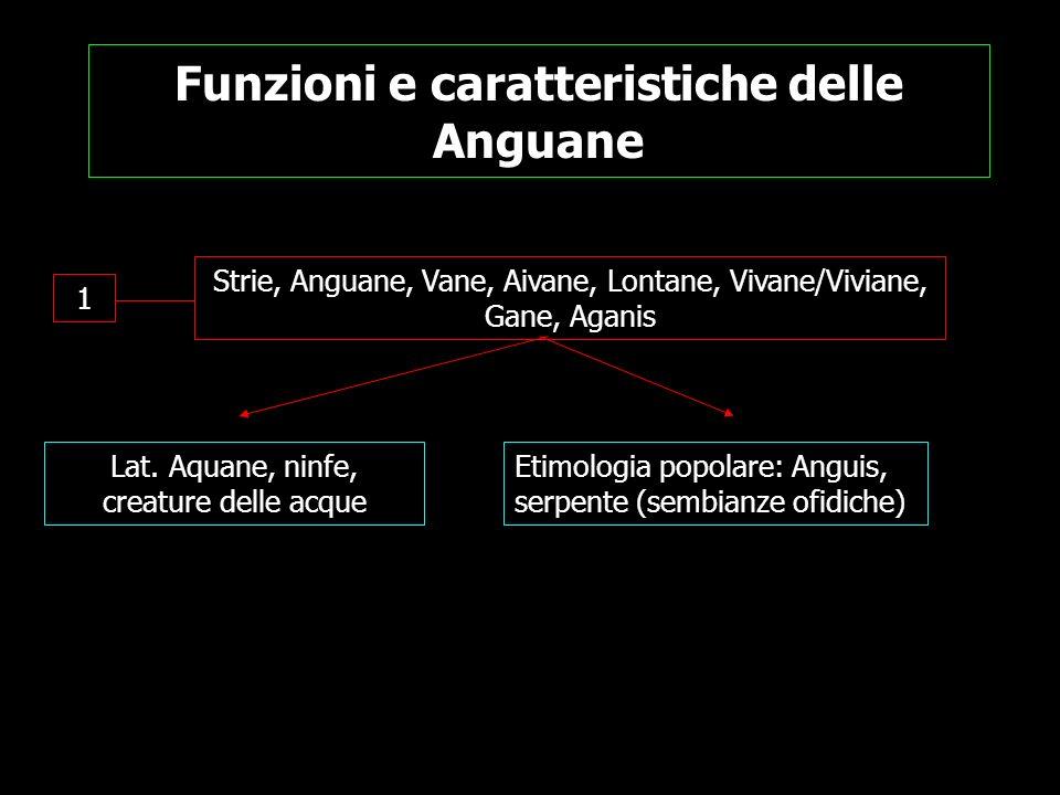 Funzioni e caratteristiche delle Anguane 1 Strie, Anguane, Vane, Aivane, Lontane, Vivane/Viviane, Gane, Aganis Lat. Aquane, ninfe, creature delle acqu