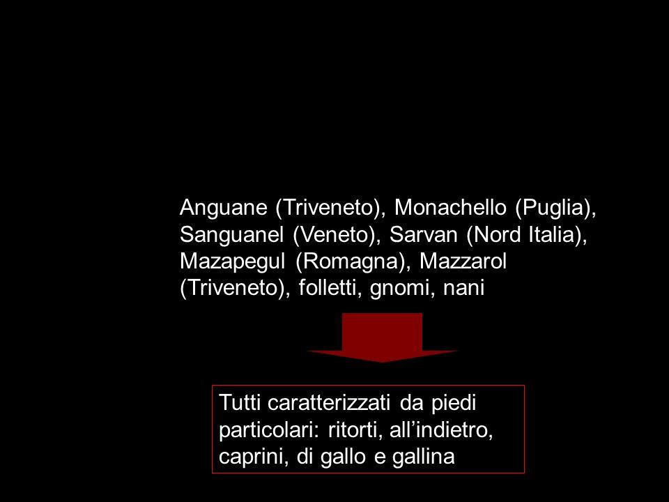 Anguane (Triveneto), Monachello (Puglia), Sanguanel (Veneto), Sarvan (Nord Italia), Mazapegul (Romagna), Mazzarol (Triveneto), folletti, gnomi, nani T