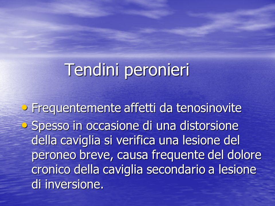 Tendini peronieri Frequentemente affetti da tenosinovite Frequentemente affetti da tenosinovite Spesso in occasione di una distorsione della caviglia