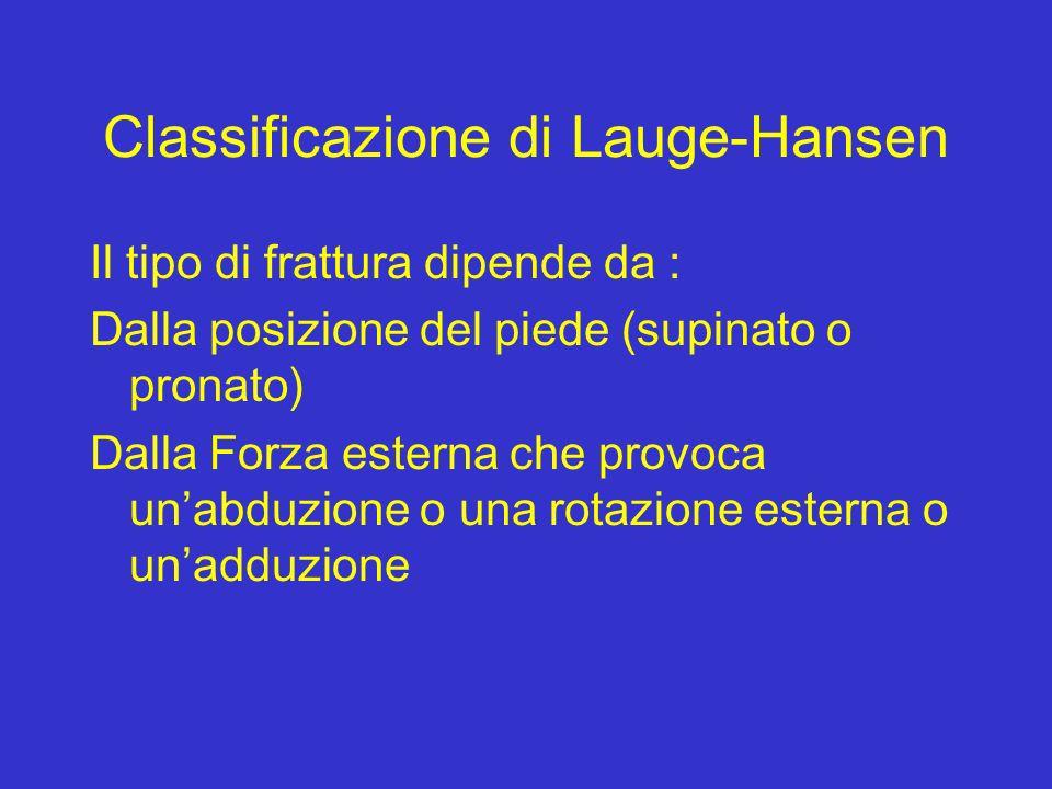 Classificazione di Lauge-Hansen Il tipo di frattura dipende da : Dalla posizione del piede (supinato o pronato) Dalla Forza esterna che provoca unabdu