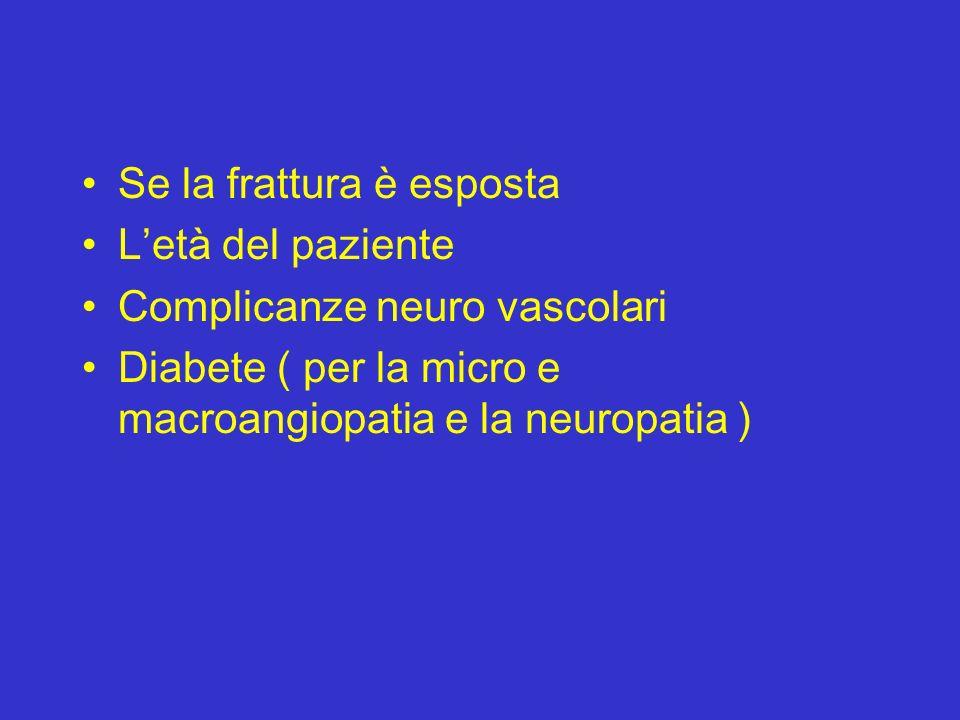 Se la frattura è esposta Letà del paziente Complicanze neuro vascolari Diabete ( per la micro e macroangiopatia e la neuropatia )