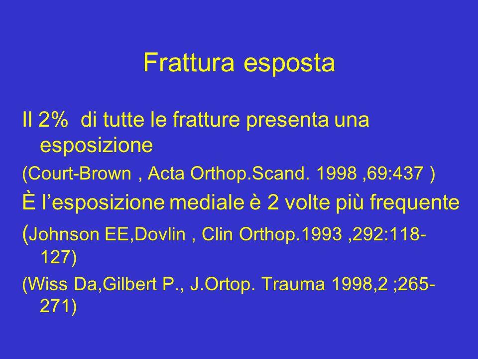 Frattura esposta Il 2% di tutte le fratture presenta una esposizione (Court-Brown, Acta Orthop.Scand. 1998,69:437 ) È lesposizione mediale è 2 volte p