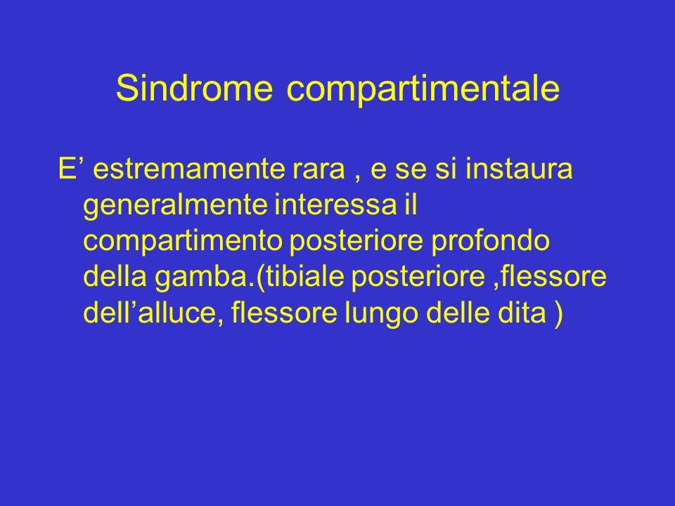 Sindrome compartimentale E estremamente rara, e se si instaura generalmente interessa il compartimento posteriore profondo della gamba.(tibiale poster