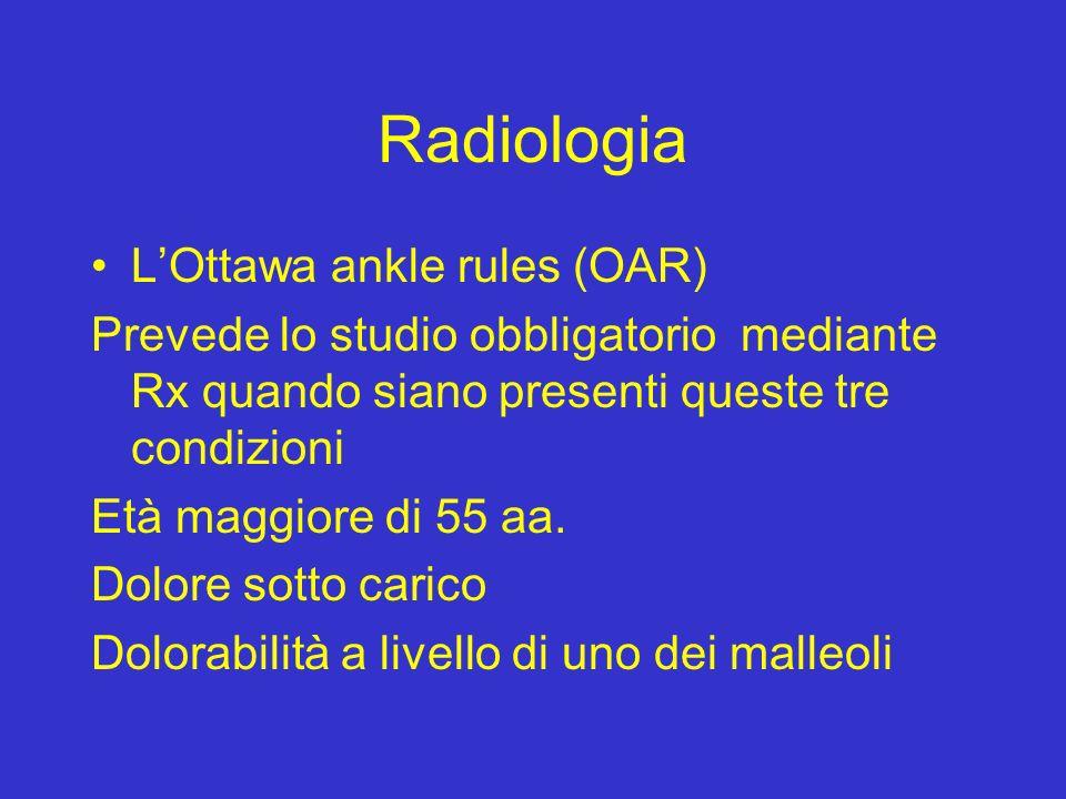 Radiologia LOttawa ankle rules (OAR) Prevede lo studio obbligatorio mediante Rx quando siano presenti queste tre condizioni Età maggiore di 55 aa. Dol