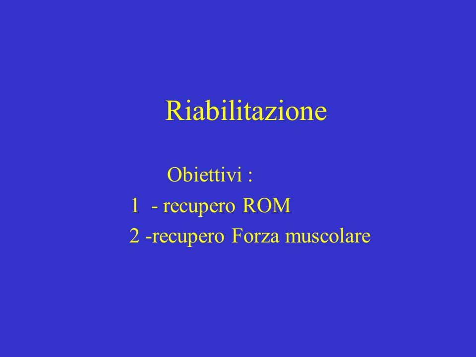 Riabilitazione Obiettivi : 1 - recupero ROM 2 -recupero Forza muscolare