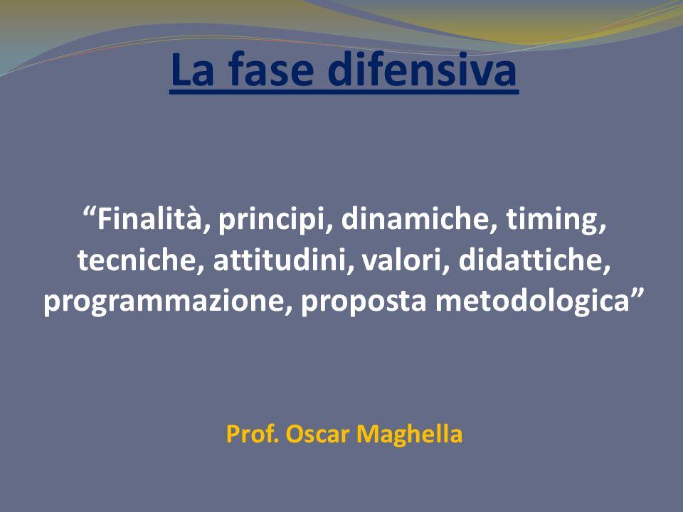 La fase difensiva Finalità, principi, dinamiche, timing, tecniche, attitudini, valori, didattiche, programmazione, proposta metodologica Prof.