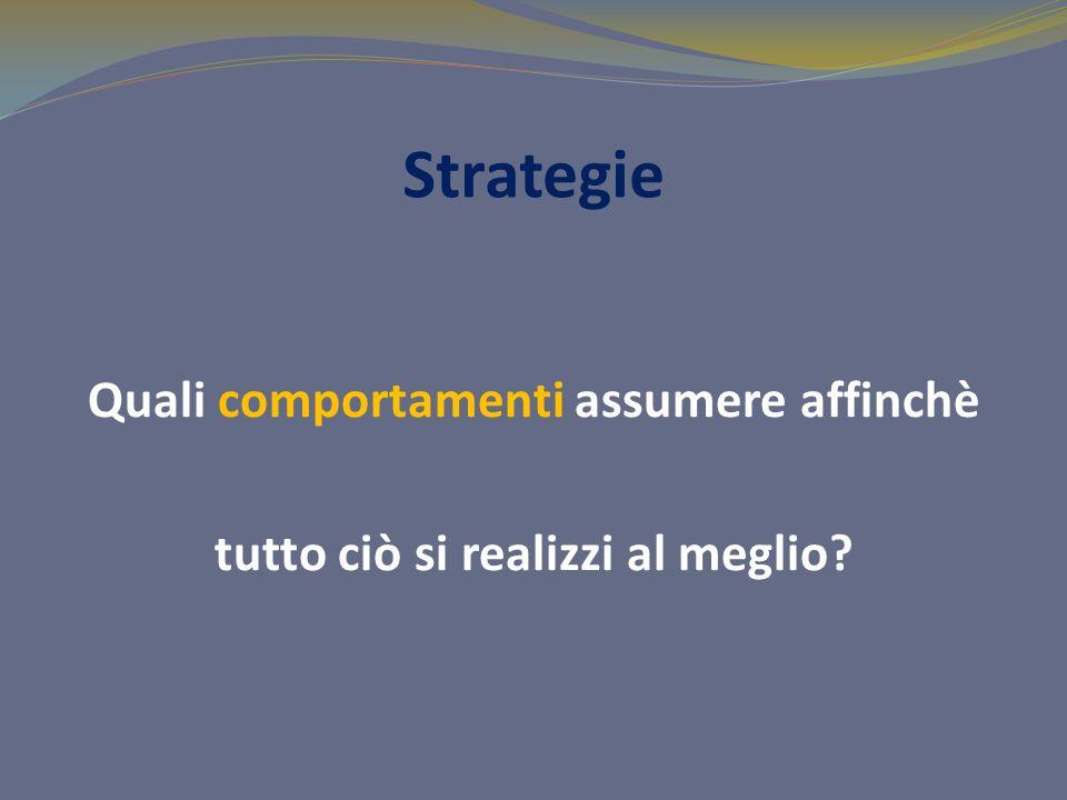 Strategie Quali comportamenti assumere affinchè tutto ciò si realizzi al meglio?