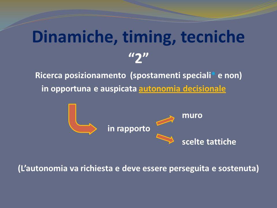 Dinamiche, timing, tecniche 2 Ricerca posizionamento (spostamenti speciali* e non) in opportuna e auspicata autonomia decisionale muro in rapporto sce