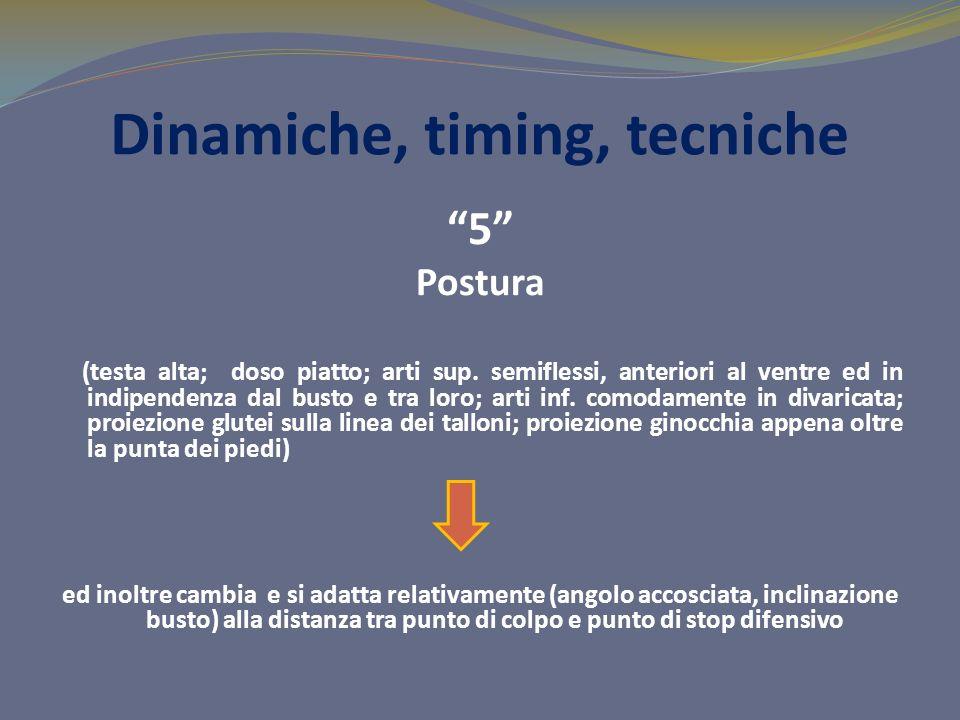 Dinamiche, timing, tecniche 5 Postura (testa alta; doso piatto; arti sup. semiflessi, anteriori al ventre ed in indipendenza dal busto e tra loro; art