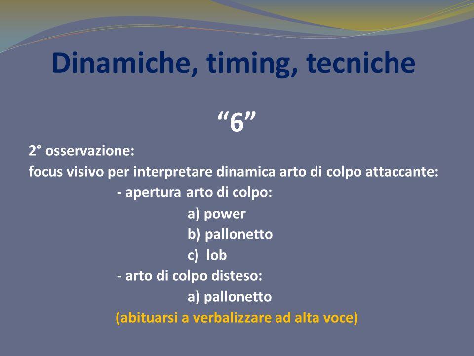 Dinamiche, timing, tecniche 6 2° osservazione: focus visivo per interpretare dinamica arto di colpo attaccante: - apertura arto di colpo: a) power b) pallonetto c) lob - arto di colpo disteso: a) pallonetto (abituarsi a verbalizzare ad alta voce)
