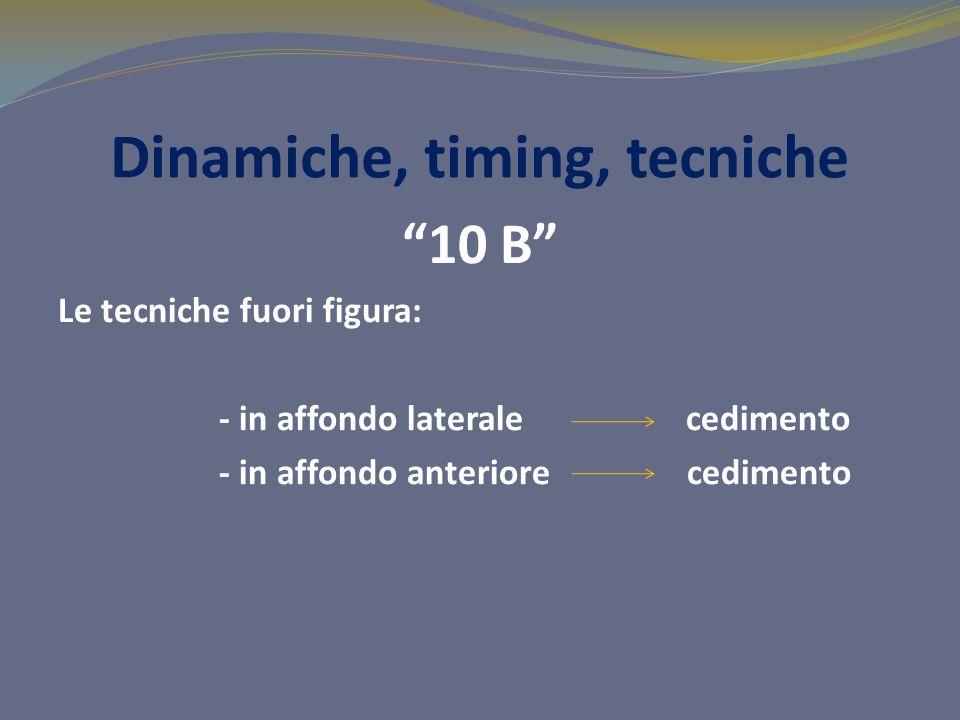 Dinamiche, timing, tecniche 10 B Le tecniche fuori figura: - in affondo laterale cedimento - in affondo anteriore cedimento