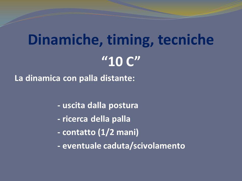Dinamiche, timing, tecniche 10 C La dinamica con palla distante: - uscita dalla postura - ricerca della palla - contatto (1/2 mani) - eventuale caduta/scivolamento