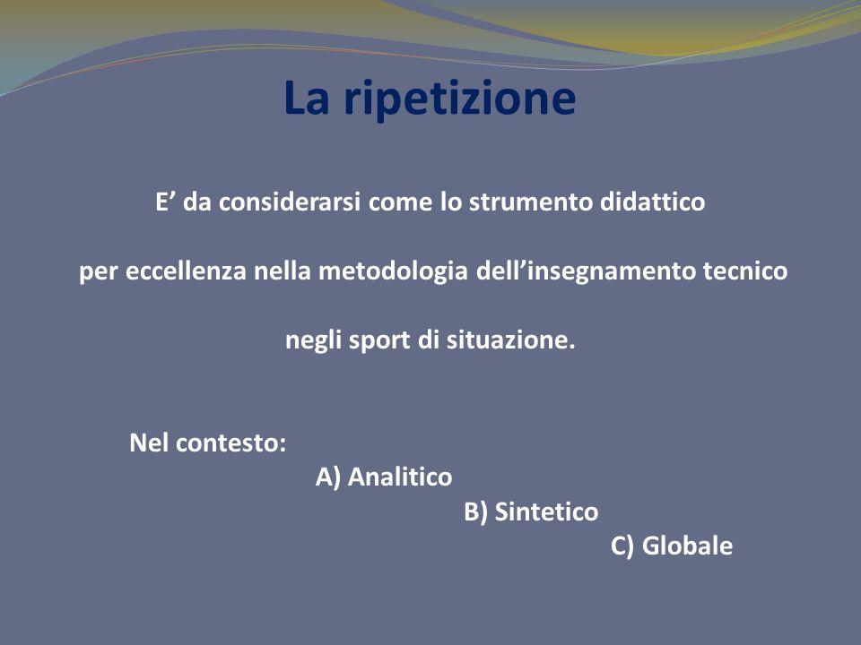 La ripetizione E da considerarsi come lo strumento didattico per eccellenza nella metodologia dellinsegnamento tecnico negli sport di situazione.