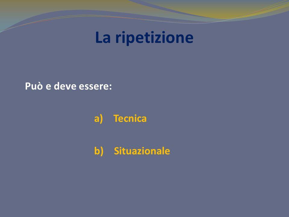 La ripetizione Può e deve essere: a) Tecnica b) Situazionale