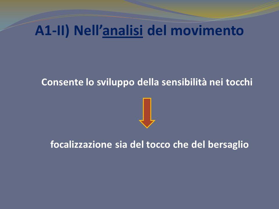 A1-II) Nellanalisi del movimento Consente lo sviluppo della sensibilità nei tocchi focalizzazione sia del tocco che del bersaglio