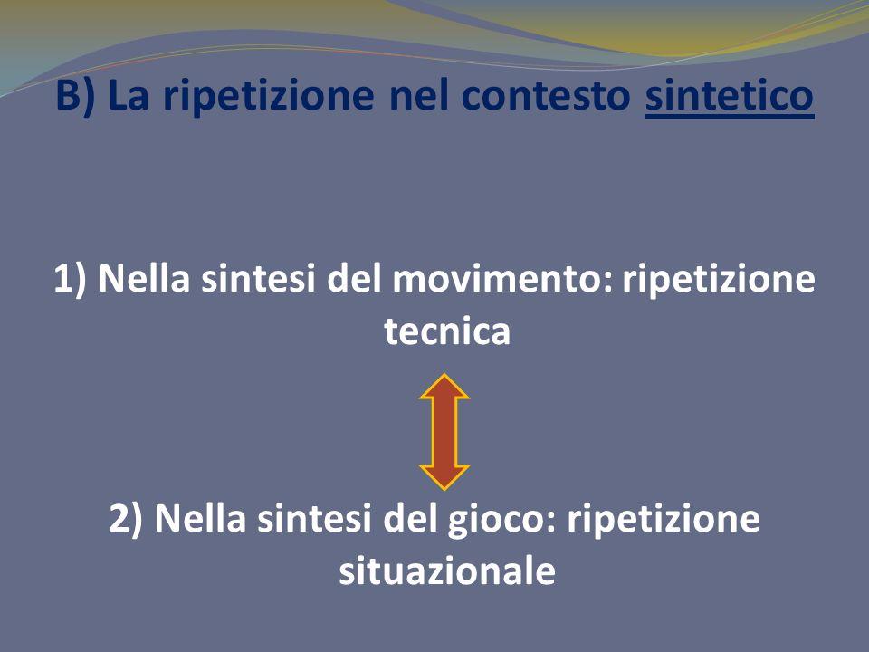 B) La ripetizione nel contesto sintetico 1) Nella sintesi del movimento: ripetizione tecnica 2) Nella sintesi del gioco: ripetizione situazionale