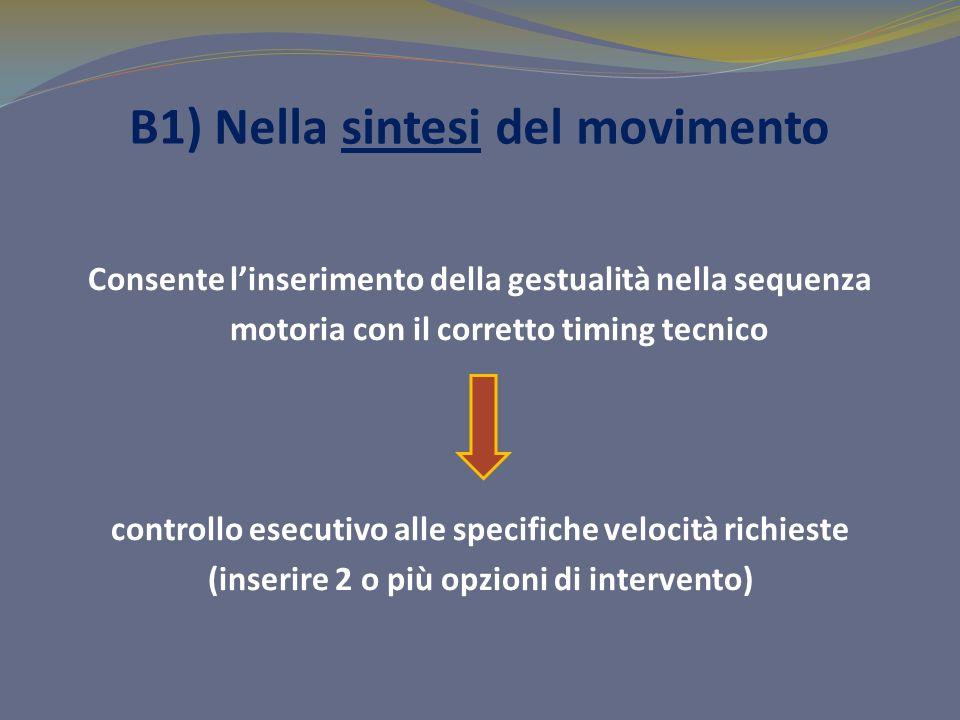 B1) Nella sintesi del movimento Consente linserimento della gestualità nella sequenza motoria con il corretto timing tecnico controllo esecutivo alle