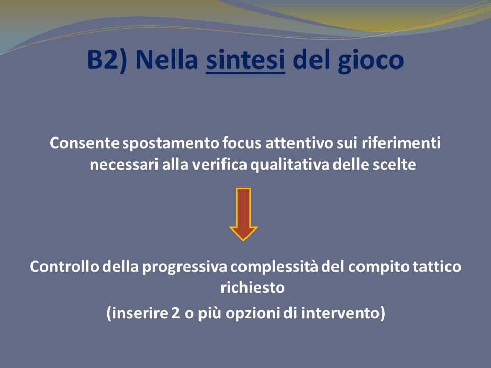 B2) Nella sintesi del gioco Consente spostamento focus attentivo sui riferimenti necessari alla verifica qualitativa delle scelte Controllo della prog