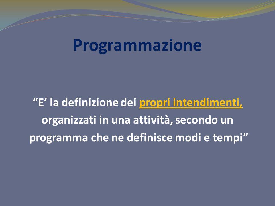 Programmazione E la definizione dei propri intendimenti, organizzati in una attività, secondo un programma che ne definisce modi e tempi