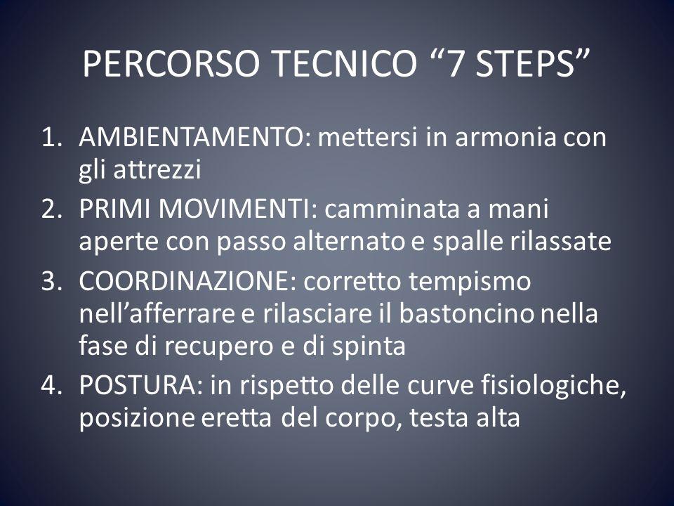 PERCORSO TECNICO 7 STEPS 1.AMBIENTAMENTO: mettersi in armonia con gli attrezzi 2.PRIMI MOVIMENTI: camminata a mani aperte con passo alternato e spalle