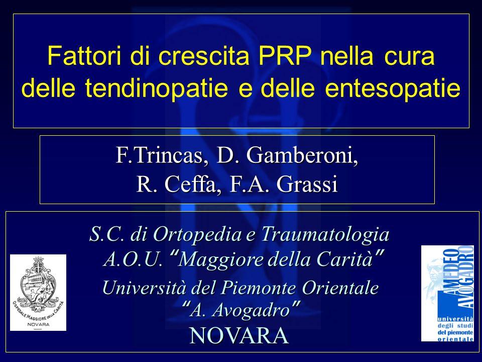 Fattori di crescita PRP nella cura delle tendinopatie e delle entesopatie F.Trincas, D. Gamberoni, R. Ceffa, F.A. Grassi S.C. di Ortopedia e Traumatol