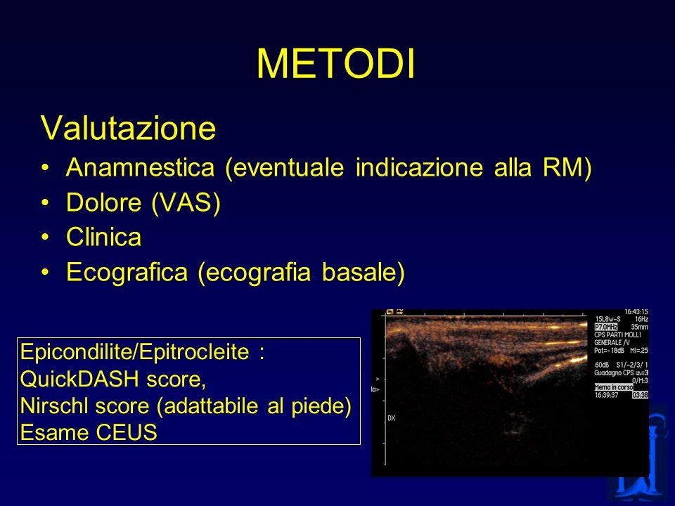 METODI Valutazione Anamnestica (eventuale indicazione alla RM) Dolore (VAS) Clinica Ecografica (ecografia basale) Epicondilite/Epitrocleite : QuickDAS