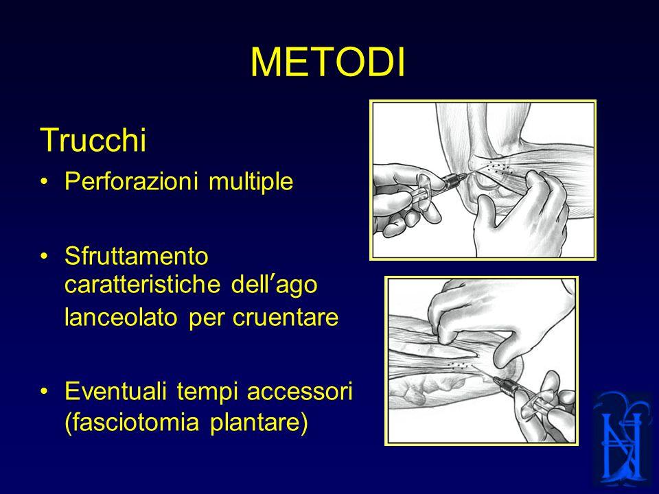 METODI Trucchi Perforazioni multiple Sfruttamento caratteristiche dellago lanceolato per cruentare Eventuali tempi accessori (fasciotomia plantare)