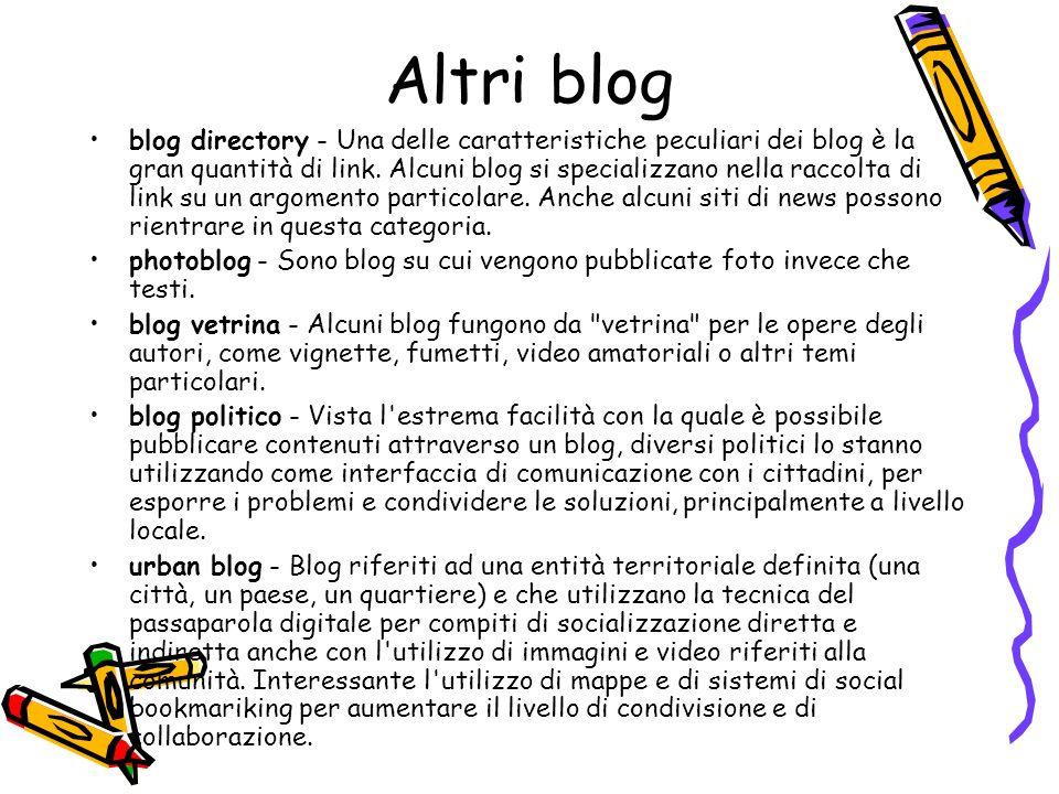 Altri blog blog directory - Una delle caratteristiche peculiari dei blog è la gran quantità di link.