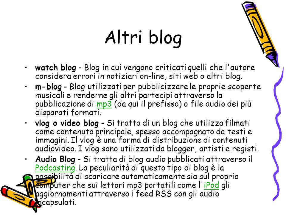 Altri blog watch blog - Blog in cui vengono criticati quelli che l autore considera errori in notiziari on-line, siti web o altri blog.