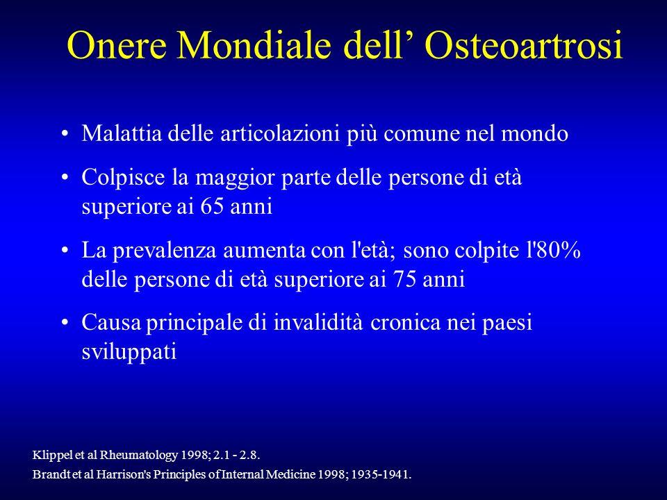 Onere Mondiale dell Osteoartrosi Malattia delle articolazioni più comune nel mondo Colpisce la maggior parte delle persone di età superiore ai 65 anni