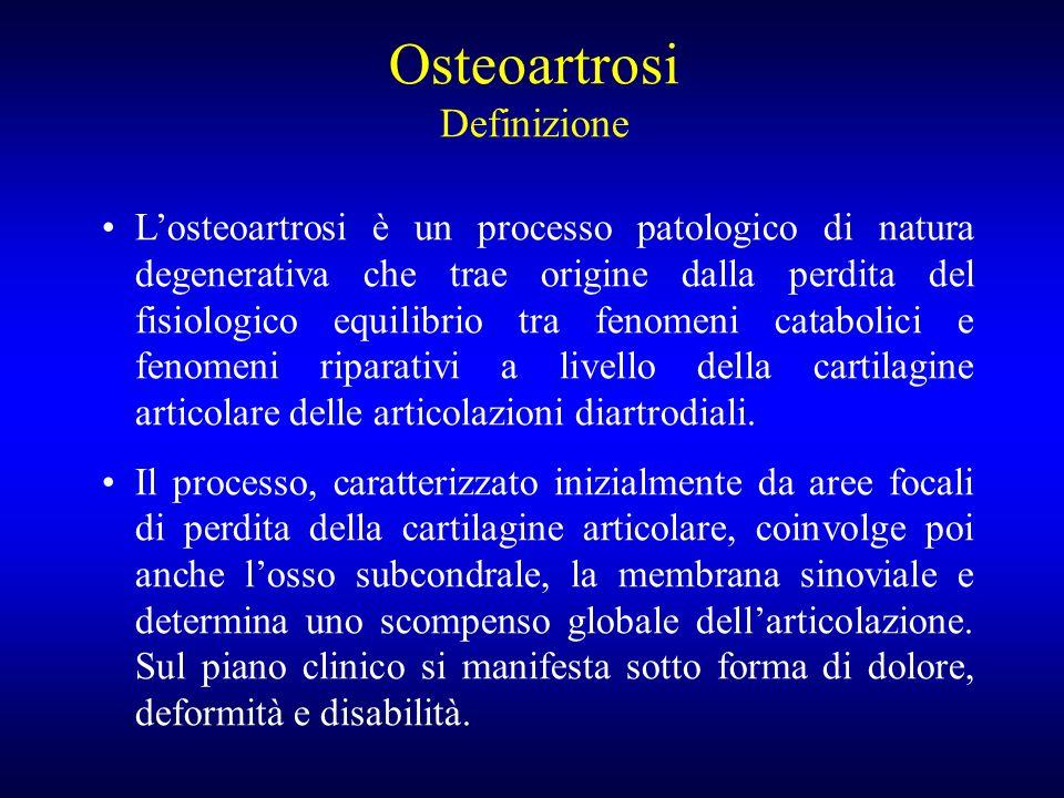 Losteoartrosi è un processo patologico di natura degenerativa che trae origine dalla perdita del fisiologico equilibrio tra fenomeni catabolici e feno