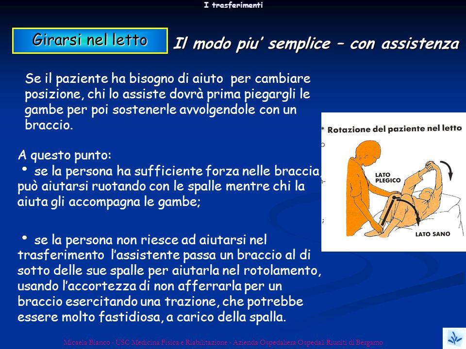 I trasferimenti Micaela Bianco - USC Medicina Fisica e Riabilitazione - Azienda Ospedaliera Ospedali Riuniti di Bergamo A questo punto: se la persona