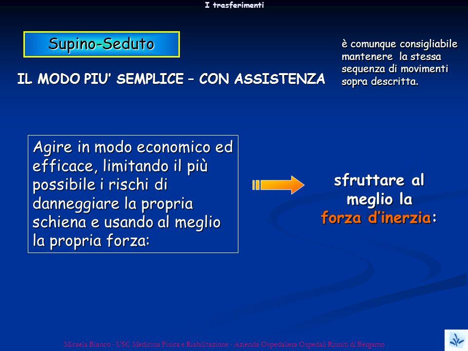 I trasferimenti Micaela Bianco - USC Medicina Fisica e Riabilitazione - Azienda Ospedaliera Ospedali Riuniti di Bergamo Supino-Seduto IL MODO PIU SEMP