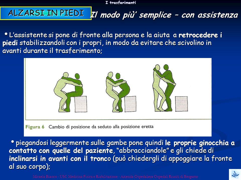 I trasferimenti Micaela Bianco - USC Medicina Fisica e Riabilitazione - Azienda Ospedaliera Ospedali Riuniti di Bergamo Lassistente si pone di fronte