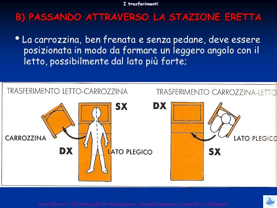 I trasferimenti Micaela Bianco - USC Medicina Fisica e Riabilitazione - Azienda Ospedaliera Ospedali Riuniti di Bergamo La carrozzina, ben frenata e s