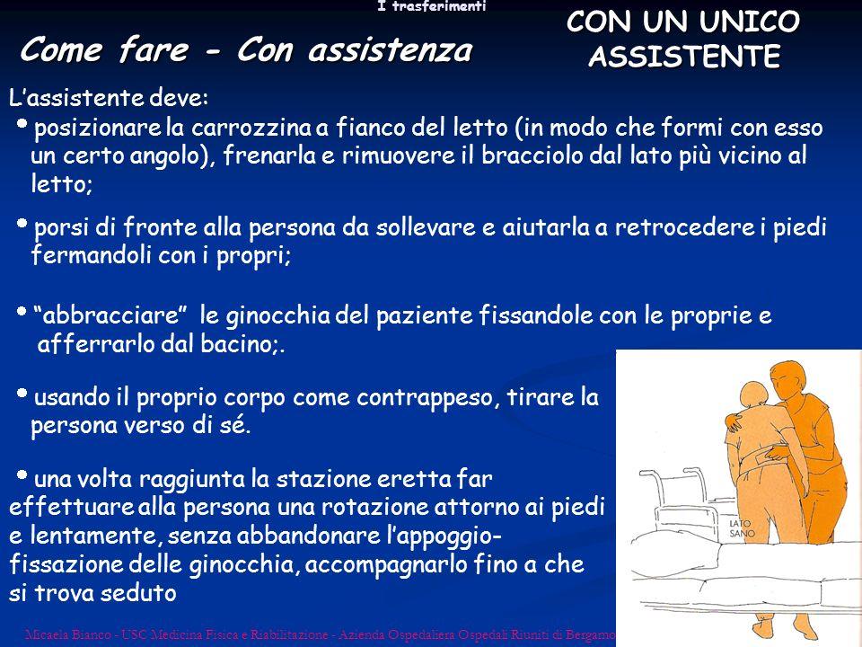 I trasferimenti Micaela Bianco - USC Medicina Fisica e Riabilitazione - Azienda Ospedaliera Ospedali Riuniti di Bergamo Lassistente deve: posizionare