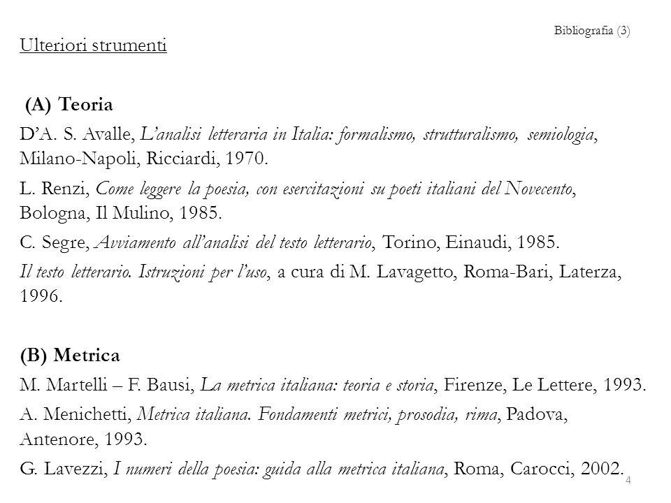 Bibliografia (3) Ulteriori strumenti (A) Teoria DA.